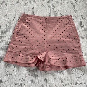 ZARA Pink w/ Black Polka Dot Shorts w/ Ruffle Hem